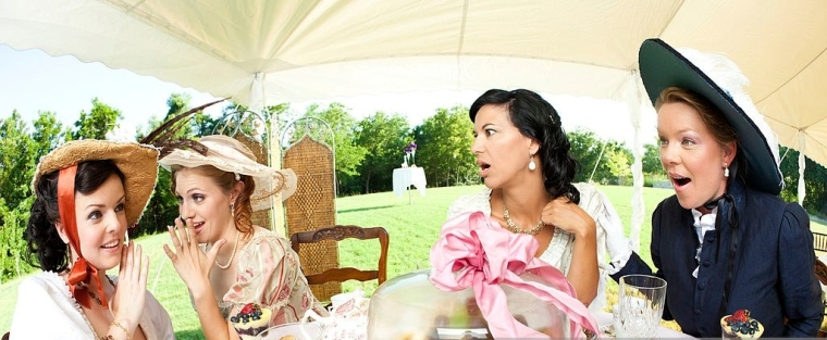 Women Gossiping at Victorian Tea Party.